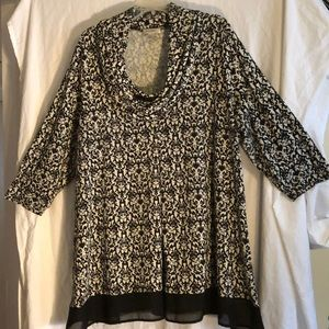 Black and off white tunic